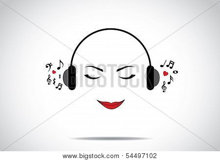 Young Beautiful Lady Or Girl Or Woman Illustration Of Listening To Great Music With Closed Eyes