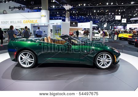 LOS ANGELES, CA - NOVEMBER 20: A Chevrolet Corvette on exhibit at the Los Angeles Auto Show in Los Angeles, CA on November 20, 2013