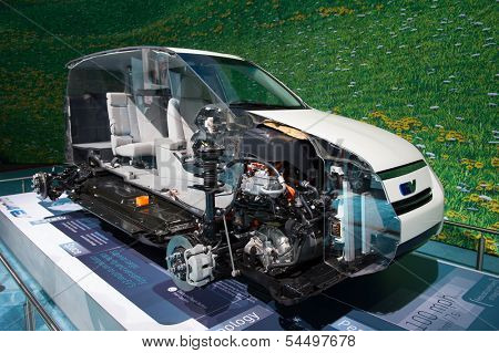 LOS ANGELES, CA - NOVEMBER 20: A cutaway of the Toyota RAV4 EV electric SUV on exhibit at the Los Angeles Auto Show in Los Angeles, CA on November 20, 2013