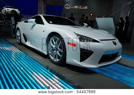 LOS ANGELES, CA - NOVEMBER 20: A Lexus LFA on exhibit at the Los Angeles Auto Show in Los Angeles, CA on November 20, 2013