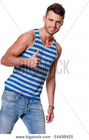 Handsome Smiling Man Gives Thumbs Up