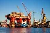 picture of shipyard  - Oil Rig under construction in the shipyard of Poland - JPG