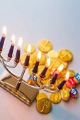 picture of dreidel  - A still life composed of elements of the Jewish Chanukah/Hanukkah festival. ** Note: Slight graininess, best at smaller sizes - JPG