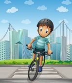 stock photo of headgear  - Illustration of a boy biking in the city - JPG