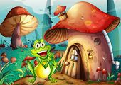 foto of magical-mushroom  - Illustration of a frog near the mushroom house - JPG