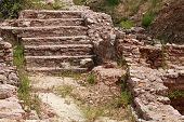 Ancient Archaeological Fragment With Stone Stairs. Petrovac, Montenegro