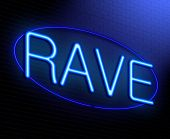 foto of rave  - Illustration depicting an illuminated neon sign with a Rave concept - JPG