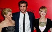 NEW YORK-NOV 20; (l-r) Elizabeth Banks, Liam Hemsworth and Jennifer Lawrence attend