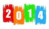 stock photo of solemn  - new year 2014 in drawn colorful banner holiday concept - JPG