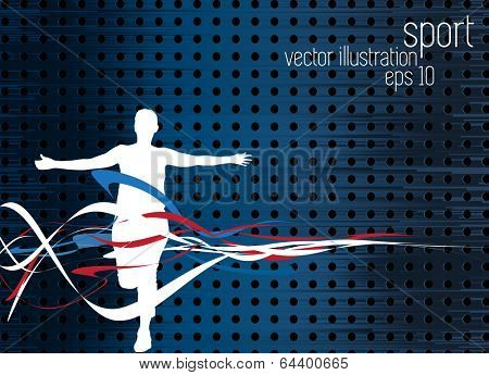 Sport background. Runner, vector