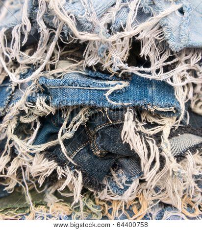Heap Of Blue Jeans Denim Torn Tear Thread