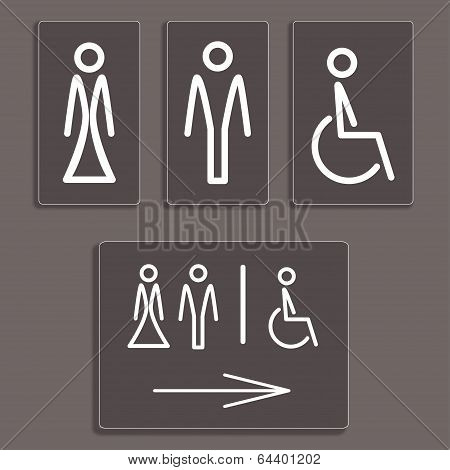 toilet icons, vector illustration.