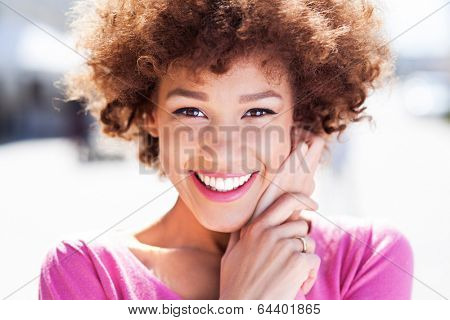 Attractive African American woman outdoors