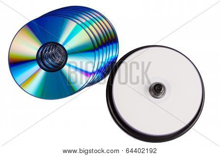 Some Blank Writable Dvd Discs On White Background