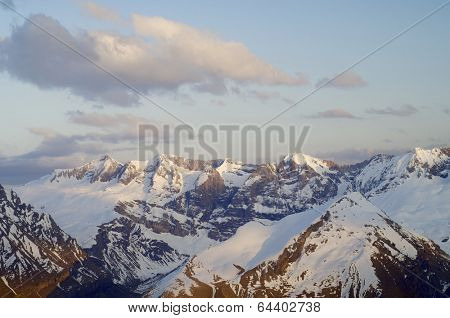 sunset view of the northern slopes of Tendenera Mountains in the Valley of Tena, Pyrenees, Huesca, Aragon, Spain