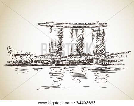 Marina Bay Sands hotel in Singapore Vector sketch