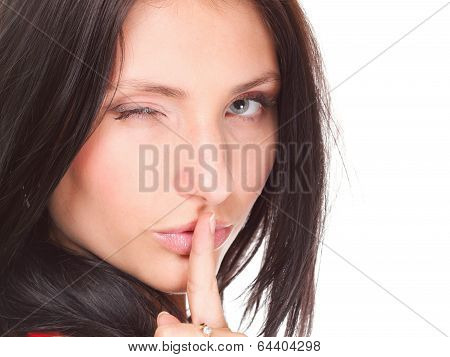 Woman Keep Quiet Gesture Finger On Mouth Isolated