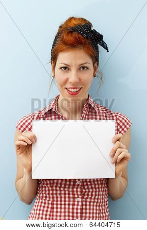 Pin-Up Girl holding copy space card