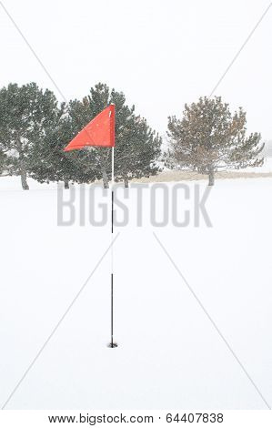 Golf Pin Red Flag With Breeze And Snow