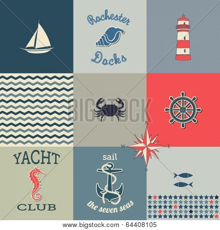 Nautical Icons Poster - Poster with maritime symbols and icons, including ship wheel, anchor, lighthouse, fish and seahorse