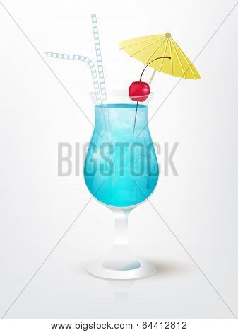 Realistic illustration of the Blue Hawaii cocktail