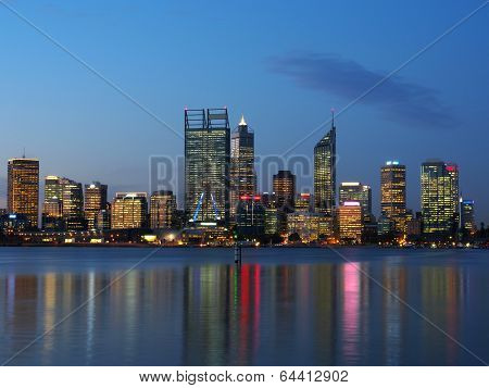 Perth City Skyline At Night Over The Swan River