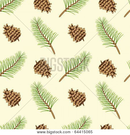 Pine Branches And Cones Seamless Texture