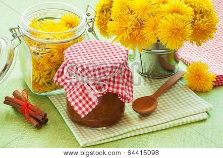 Jar Of Dandelion Jam, Cinnamon And Blowball Flowers
