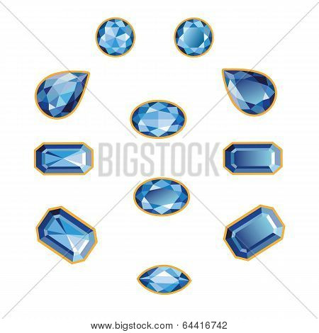 Sapphire Set Isolated Objects