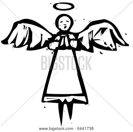Tall Angel Woodcut