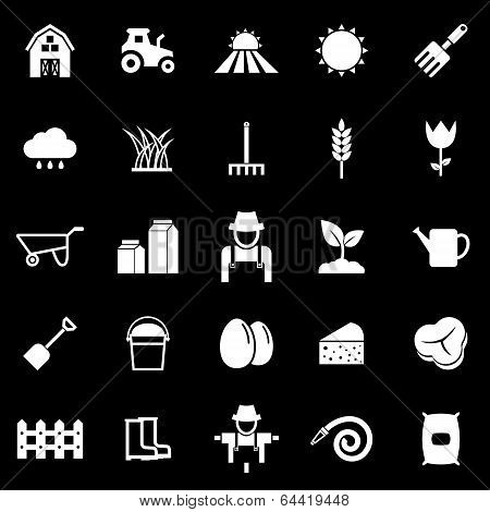 Farming Icons On Black Background