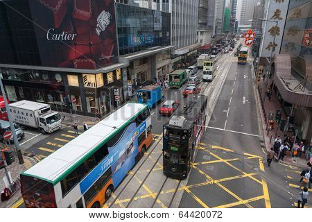 HONG KONG - NOVEMBER 14, 2012: Central is the central business district Hong Kong, it is located on of Hong Kong Island. Many multinational financial corporations have their headquarters in the area.