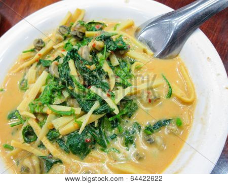 Hot Thai Curry With Little Snail Shell Thailand Food
