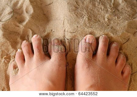 Women Foot On Sand