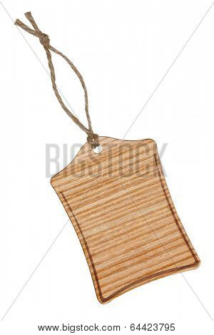 Wooden label with string, isolated on the white background.