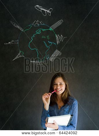 Business Travel Agent Chalk Globe And Famous Landmarks
