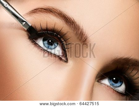 Makeup. Make-up Applying closeup. Eyeliner. Cosmetic Eyeshadows. Eyeline brush for Make up. Beauty Girl with Perfect Skin. Eyelashes. Blue eyes. Makeover