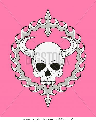 monochrome skull illustration
