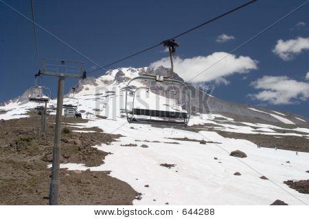 Summer Ski Lift On Mt Hood