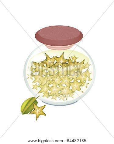 A Jar Of Delicious Pickled Or Preserved Starfruits