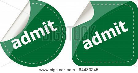 Admit Word Stickers Set, Icon Button, Business Concept