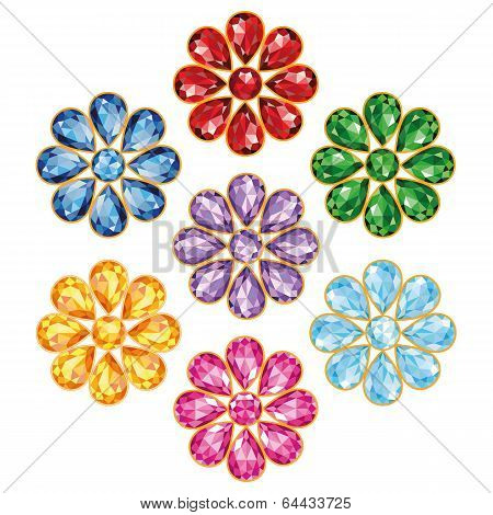 Seven Precious Flower Isolated Objects