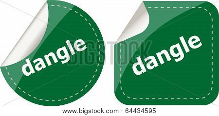 Dangle Word On Stickers Web Button Set, Label, Icon