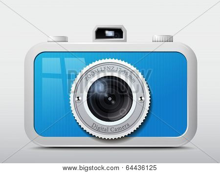 The vector image of the camera in the case of dark blue colour