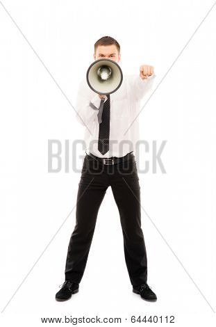 Angry businessman boss screaming isolated on white