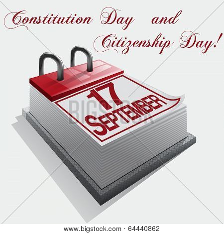 Vector image calendar 17 September Constitution Day and Citizenship Day.