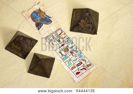 Hieroglyphics on Parchment with Pyramids