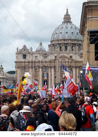 Rome, Vatican - April 27, 2014: St. Peter's Square, A Celebration Of The Canonization Of Popes John