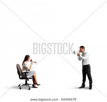 quarrel between discontented man and angry woman. isolated on white background