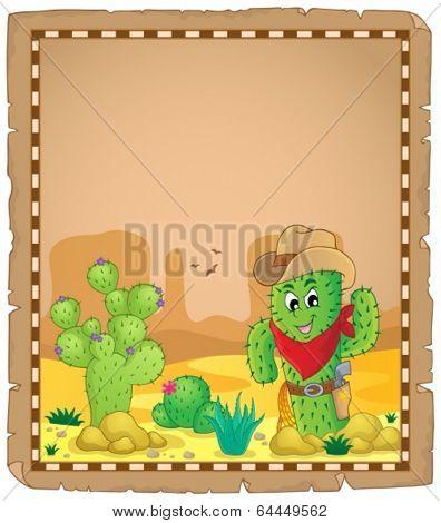 Parchment with cactus theme 1 - eps10 vector illustration.